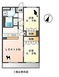 ルーク・サンホークス[1階]の間取り