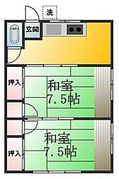 ドミール西一之江[2階]の間取り