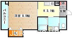 大阪府堺市堺区中之町西4丁の賃貸マンションの間取り