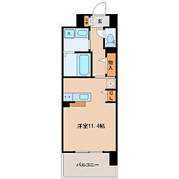 仙台市地下鉄東西線 連坊駅 徒歩9分の賃貸マンション 7階ワンルームの間取り