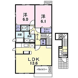 埼玉県三郷市泉1丁目の賃貸アパートの間取り