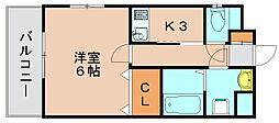 ハイネタウン箱崎[4階]の間取り