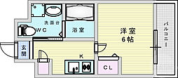 阪急京都本線 上新庄駅 徒歩3分の賃貸マンション 6階1Kの間取り