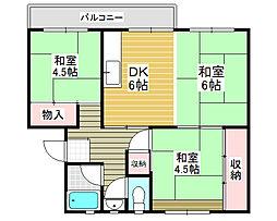 下野池第2住宅5棟[2階]の間取り