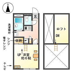 愛知県東海市加木屋町畑尻の賃貸アパートの間取り