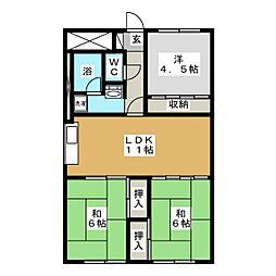 ベルハイツ[1階]の間取り