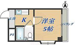 トーエー高井田ビル 7階1Kの間取り