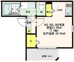 仮称:ハ−モニ−テラス・大阪市西淀川区歌島一丁目8B[302号室]の間取り