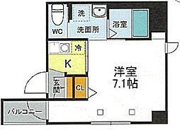 JR山手線 西日暮里駅 徒歩9分の賃貸マンション 2階1Kの間取り