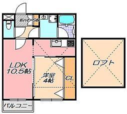 兵庫県神戸市中央区上筒井通2丁目の賃貸アパートの間取り