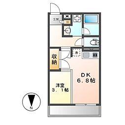 JR東海道本線 尾頭橋駅 徒歩17分の賃貸マンション 5階1DKの間取り