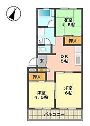 愛知県名古屋市名東区丁田町の賃貸マンションの間取り
