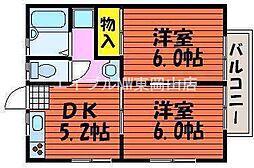 岡山県岡山市東区沼の賃貸アパートの間取り