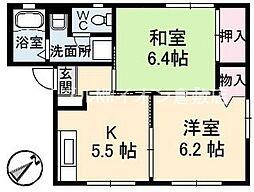 岡山県倉敷市有城丁目なしの賃貸アパートの間取り