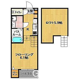 福岡県福岡市東区筥松4丁目の賃貸アパートの間取り