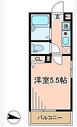 東京都品川区小山台1丁目の賃貸アパートの間取り