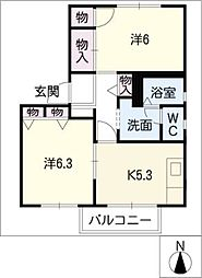 ファミーユ松ヶ島[1階]の間取り
