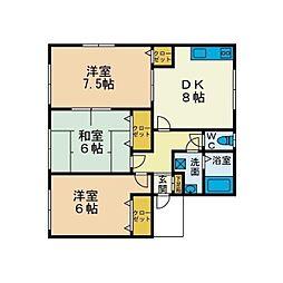 ハイツKIYO C棟[2階]の間取り