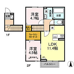 Haru Haru I 2階2LDKの間取り