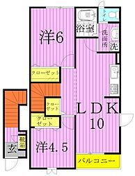 メゾンサンパティーク[2階]の間取り