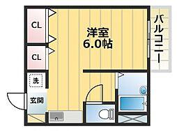 ガリューコート菱屋西[3階]の間取り