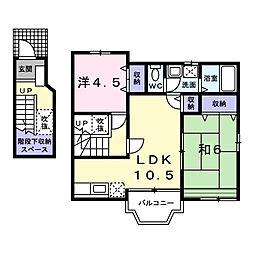 東京都府中市西原町2丁目の賃貸アパートの間取り