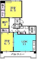 ブラーヴァ夙川[402号室]の間取り