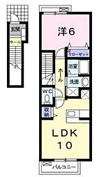 リバティ ブリーズ 2階1LDKの間取り