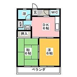 高津コーポ[2階]の間取り
