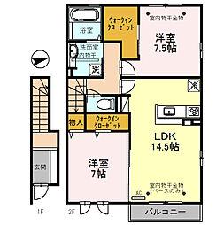 (仮)D-room三馬[203号室]の間取り