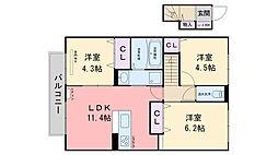 セジュール Koga 3 A棟[203号室]の間取り