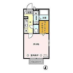 東京都国分寺市西元町3丁目の賃貸アパートの間取り
