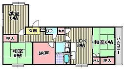 岸城マンション[305号室]の間取り