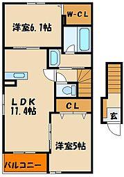 兵庫県神戸市西区長畑町の賃貸アパートの間取り