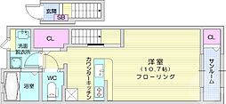 JR東北本線 名取駅 徒歩9分の賃貸アパート 2階1Kの間取り