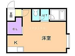 コットンハウス22 1階ワンルームの間取り