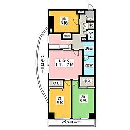 ラフォーレ下川原 301号室[3階]の間取り