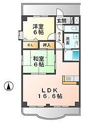 愛知県清須市西市場1丁目の賃貸マンションの間取り