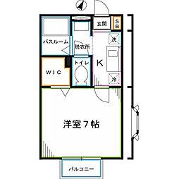 JR中央本線 国分寺駅 徒歩9分の賃貸アパート 1階1Kの間取り