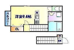 仙台市営南北線 台原駅 徒歩6分の賃貸アパート 2階ワンルームの間取り