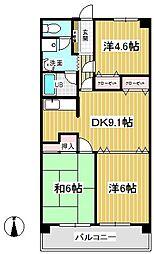 清水山第2パークハイツ[4階]の間取り