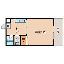 奈良県橿原市見瀬町の賃貸アパートの間取り