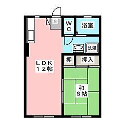 タウニートヨタ B[1階]の間取り