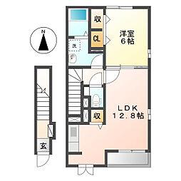 岡山県総社市総社3の賃貸アパートの間取り