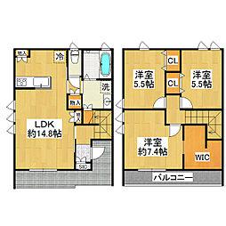 [テラスハウス] 茨城県つくば市研究学園3丁目 の賃貸【茨城県 / つくば市】の間取り
