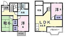 [テラスハウス] 神奈川県横浜市都筑区早渕1丁目 の賃貸【/】の間取り