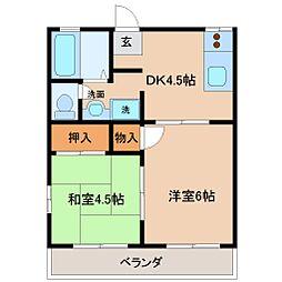 フローラル木花台 6棟[1階]の間取り