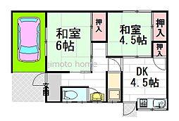[テラスハウス] 大阪府豊中市熊野町1丁目 の賃貸【/】の間取り