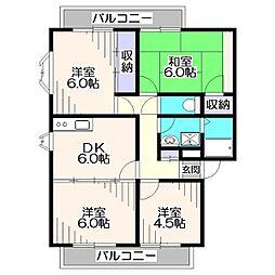 第二サンビレッヂアサノC棟[2階]の間取り