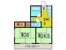 第一東荘[201号室]の間取り